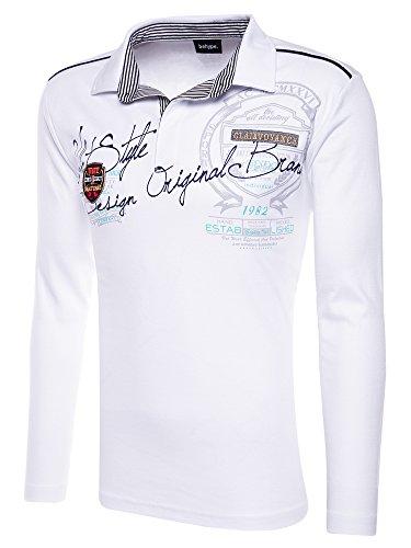 behype. Herren Poloshirt Deciding Langarm T-Shirt 20-0682 Weiß L