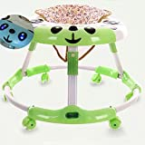 Olz Newest Baby Activity Andador para Boys & Girls, Newest 6-Height Clean Tray Baby 6-24 Meses Baby Multi-Function Anti-Rollover Dobling Walkers, Walkers Ajustable Baby Walkers,Verde