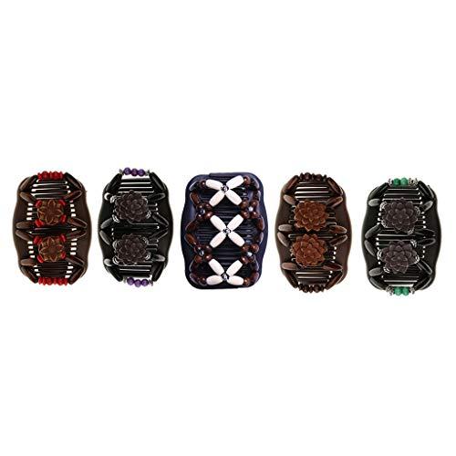 DYNWAVE 5Pack Wood Beads Mulheres Elásticos Cabelo Pente Grampo Updo Headwear
