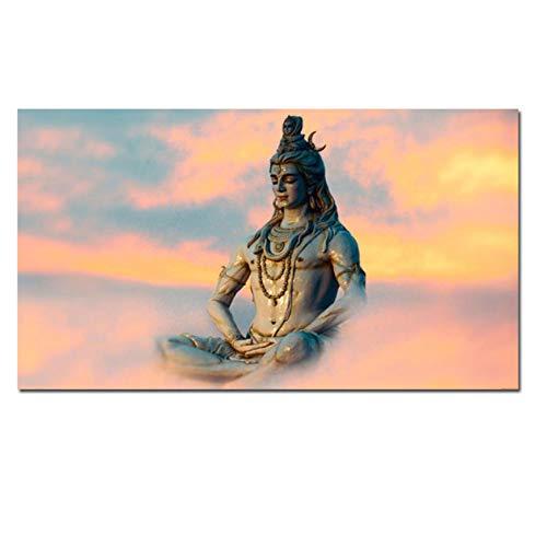"NIEMENGZHEN Pintura sobre Lienzo Arte Indio Figura de Buda religioso Shiva Lord Cartel psicodélico Cuadro de Pared Moderno para Sala de Estar 27.5""x 47.2"" (70x120 cm) Sin Marco"