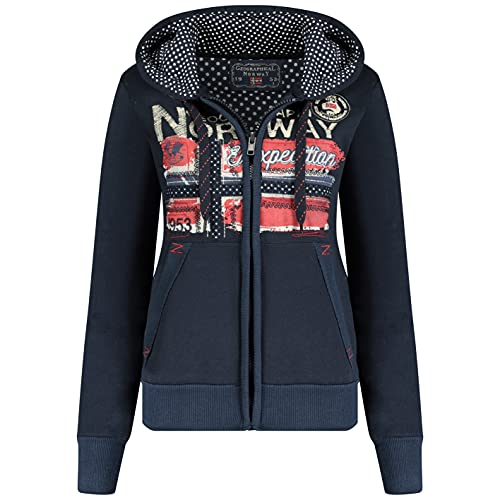 Geographical Norway FARLOTTE Lady - Sweat Femme Manches Longues Chemise Poches - Sweat Femme Manches Longues Pull Hiver - Veste à Capuche Hoodies Hoodie Casual Classic (Marine, L)