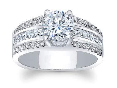 Addamas - Anello da donna in platino 950 con diamante da 0,81 ct, taglio rotondo e Platino, 49 (15.6), colore: bianco, cod. P-LRN-0984-PL-J
