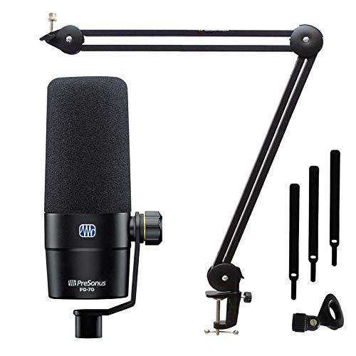 Presonus PD-70 - Micrófono de podcast dinámico y trípode articulado Keepdrum MS138