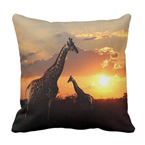 Überwurf Kissenbezug Home Decor Giraffen in Afrika Kissen Reißverschluss Leinwand Kissen Displayschutzfolie Sofa Kissen Fall 45x 45cm