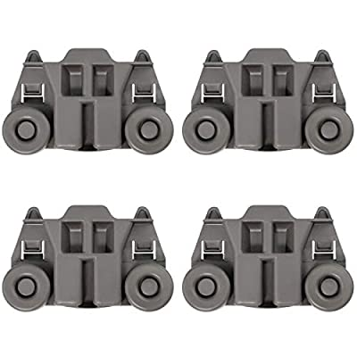 4 PACK W10195417 UPGRADED Dishwasher Wheels Lower Dish Rack Roller Wheel Assembly by AMI,Replaces W10195417VP W10195417V AP4538395 AP6016764 PS2579553 PS11750057