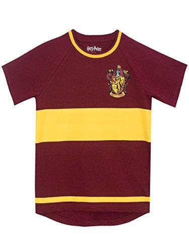Camiseta para niños de Harry Potter Haz que cada día sea extra mágico con esta encantadora camiseta de Quidditch! Perfecta para los jóvenes Gryffindor, esta camiseta borgoña viene con rayas amarillas Camiseta completa con el escudo de Gryffindor en e...