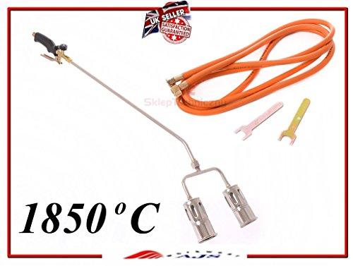 Gasbrenner-Set mit langem Arm für Propan / Butan, Anwärmbrenner, mit Schlauch, Regler, für Klempner, Dachdecker, zum Entfernen von Unkraut