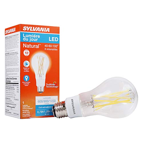 Sylvania LED A21 Natural Light Series Light Bulb, 3-Way Light, 6.5W/9W/13.5W, Not Dimmable, Clear Finish, Daylight 5000K Color Temperature, 1 Pack