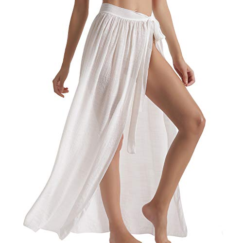 Eicolorte Beach Wrap Maxi Skirt for Women Bathing Suit Swim Bikini Cover Up Sarong (White, 4-12)