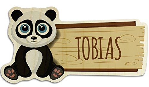 Türschild aus Holz mit Namen Tobias - Motiv Panda - Namensschild, Holzschild, Kinderzimmer-Schild