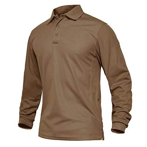 EKLENTSON Herren Trekkinghemd Outdoor Hemd Herrenoberhemden Freizeithemd mit Knopfleiste, Braun