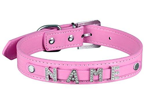 Scarlet pet | Hundehalsband »My-Name« inkl. 5 Strass-Buchstaben; mit Namen ihres Hundes personalisierbar; zusätzliche Buchstaben bestellbar (XS: 26 cm, Pink)