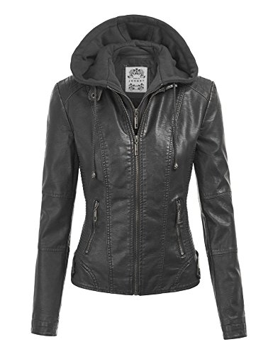 Made By Johnny MBJ WJC1044 Womens Faux Leather Quilted Motorcycle Jacket with Hoodie XXL Black