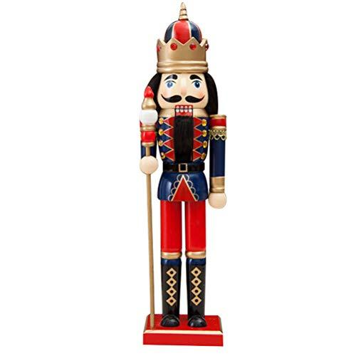Schiaccianoci di Natale, 38cm Soldato di legno Schiaccianoci Burattino Dado da collezione Cracker su supporto Marionette Statua, Schiaccianoci in legno Figure Soldatino Giocattolo di marionette, per