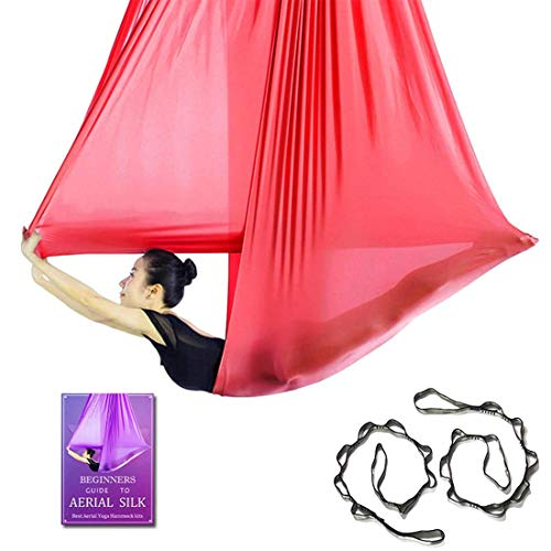 Affordable Aerial Yoga Hammock L:5M W:2.8M Aerial Pilates Silk Yoga Swing Set with 2000 Ibs Load Include Daisy Chain, Pose Guide