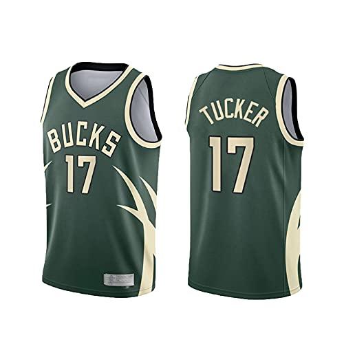 xiaotianshi Jerseys de la NBA de los Hombres - Milwaukee Bucks # 17 Tucker Frestro Fresco Tela Transpirable Resistente al Desgaste Transpirable Vintage Basketball Jerseys Top Camiseta,Verde,L