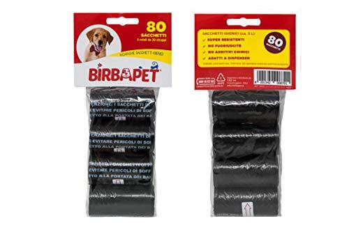 Birbapet - 320 Sacchetti Neri per Cane igienici per bisogni ed escrementi dei Cani, 320 bustine da 4 Card con 4 Rotoli all interno.