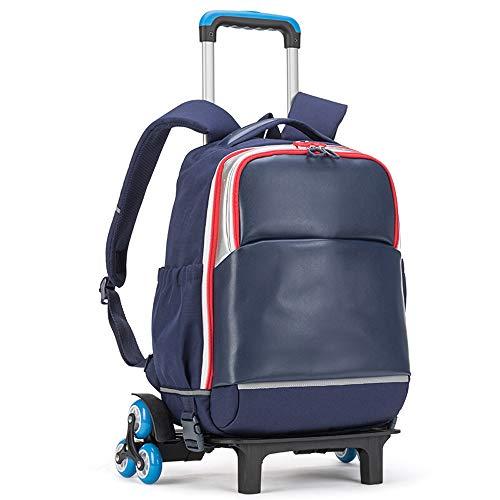 FREEUP Maleta de mano para niños con mochila impermeable y 6 ruedas, para niños y niñas, viajes escolares, 39 x 48 x 24 cm, 19 litros, color azul