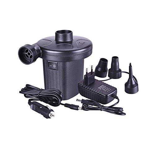Elektrische Luftpumpe 2 in 1 Elektropumpe mit 3 Luftdüse Kompressor 110V AC / 12V DC, perfekte Inflator/Deflatorpumpen für aufblasbare Kissen, Luftmatratzenbetten, Boote, Schwimmring