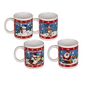 Invero - Juego de 4 tazas de porcelana fina con diseño de muñeco de nieve de 325 ml, ideal para té, café, café con leche, chocolate caliente, regalos y más