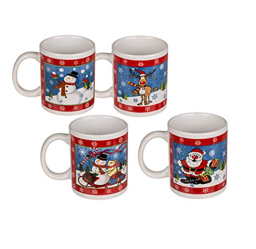 Invero Set of 4 Christmas Snowman Santa Claus Reindeer...