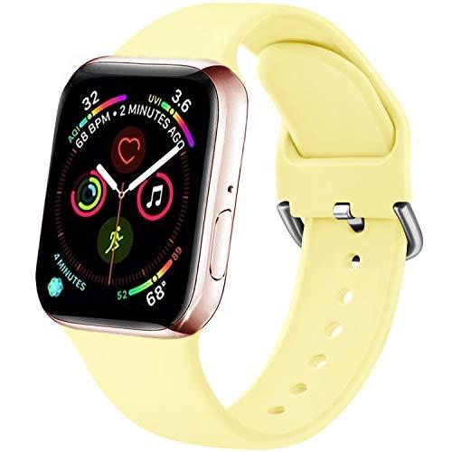 Funeng - Correa compatible con Apple Watch de 38 mm, 40 mm, 42 mm, 44 mm, nueva correa de silicona deportiva suave para iWatch Serie 6, 5, 4, 3, 2,1 (38/40 mm, S/M, 08), color amarillo claro