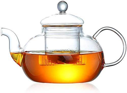ZQADTU Tetera con colador Juego de té de Vidrio de Alta Temperatura Resistente al Calor Tetera de Flores para el hogar Taza de té Tetera 600ml