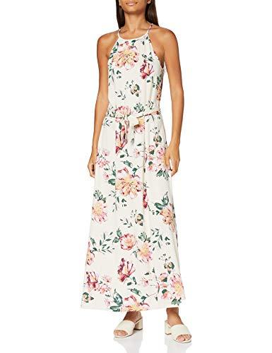 ONLY Damen ONLALMA Life VIS S/L Long Dress AOP WVN1 Lässiges Abendkleid, Cloud Dancer, 34
