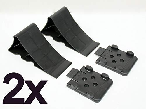 p4U 2X Unterlegkeile schwarz Bremskeil mit Halter Keil für Anhänger Hemmschuh Domar