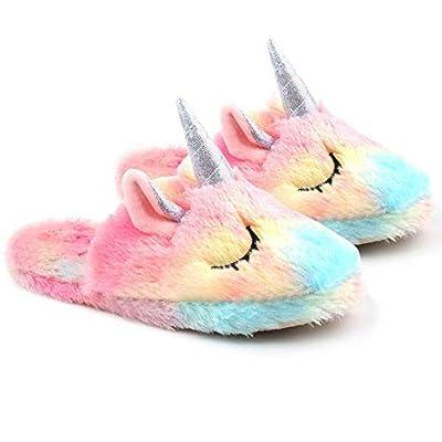 Unicornio Zapatillas Casa Niña Pantuflas Invierno de Estar Peluche Antideslizante Cómodas Slippers