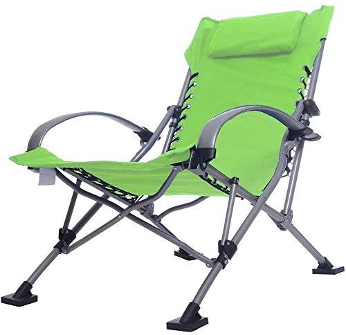 Kyman Klappstuhl Lehnstuhl im Freien Freizeit-Stuhl Napping Stuhl tragbare Falten Lehnstuhl Große und Bequeme elastische Seitenlinie Design-Aluminium-Legierung Belastbarkeit 150 kg, C (Color : B)