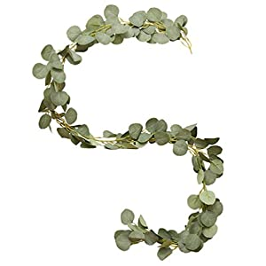 BESPORTBLE Eucalyptus Leaves Vine Artificial Greenery Door Swag Dried Plants Silk Flowers Plant Garland for DIY Home Farmhouse Wedding Valentine Day Decoration