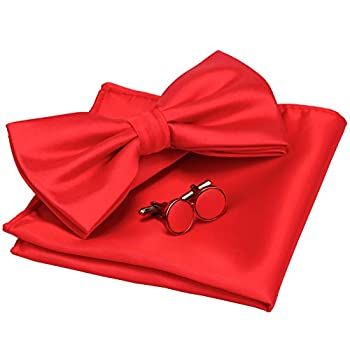 GUSLESON Mens Adjustable Solid Red Bow Tie Pre-tied Wedding Bowtie and Pocket Square Cufflink Set With Box  0570-12