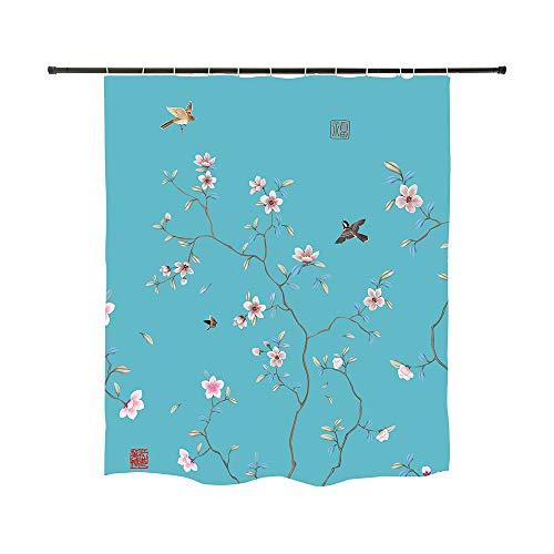 Ofat Home Duschvorhang mit japanischem Blumenmuster, rustikal, Pfirsichblüte, Tintenmalerei, Schmetterlinge & Vögel, Malerei, Kunst, Badezimmer-Gardinen, Sets mit Ringen, Blaugrün, 183 x 183 cm