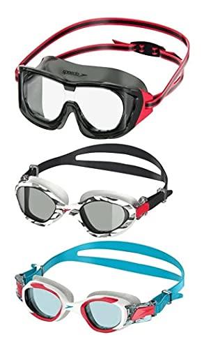 Speedo 3 Pack Junior Swimming Goggles Ages 6-14 UV Protection Latex Free (White/Black/White)