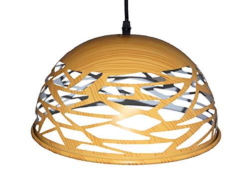 Suspension métal design imitation bois diamètre 30 cm hauteur 18 cm hors fils réglable hauteur total 100 cm Douille/ampoule 1 X E27 60 watt maxi non incluse