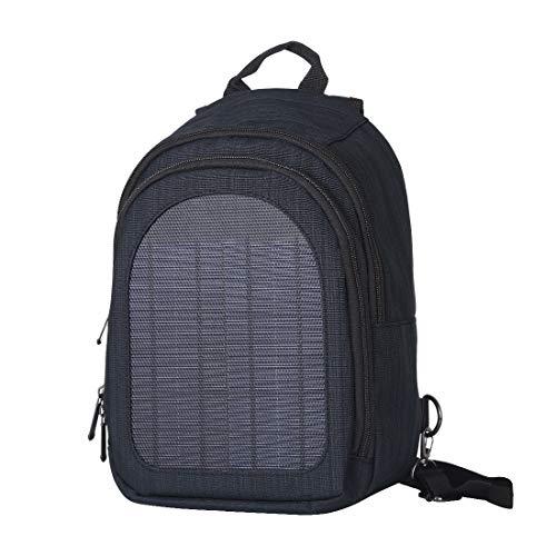 HAWEEL 【2019最新 ソーラーリュック 5V 屋外緊急バックパック ソーラー充電 USB出力 旅行ショルダーバッグ 超軽量ミニ防水リュック ソーラーパネル付 アウトドアバックパック (黑)