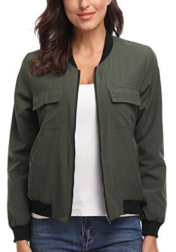 MISS MOLY Bomber Jacket Womens Flight Jacket Zip Up Lightweight Jacket Multi-Pocket Green Medium