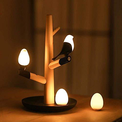 DEJ Boomtakken Ontwerp Led Bureau Lamp met Afneembare Vogel Gemaakt van Silicon Gel, Natuurlijke Effen Hout Gemaakt Lamp Lichaam voor Slaapkamer, Parlor, Decoratie