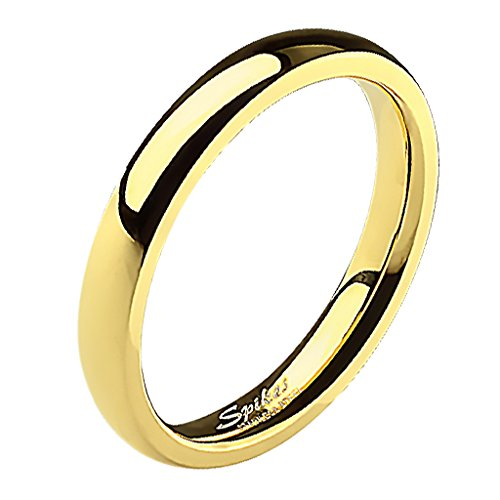 Mianova Band-Ring Edelstahl Herrenring Damenring Partnerring Trauring Verlobungsring Damen Herren Gold Größe 53 (16.9) Breit 3mm