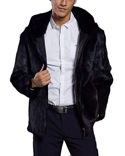 DianShaoA Herren Warme Pelzmantel Pelzjacke Männer Verdicken Reißverschluss Kunstpelz Oberbekleidung Übergroßen Jacke Mantel Parka Outwear Schwarz 2XL