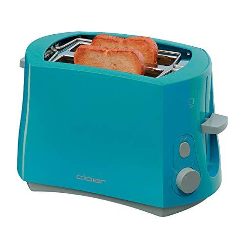 Cloer 3317-3 Cool-Wall-Toaster, 825 W, für 2 Toastscheiben, integrierter Brötchenaufsatz, Krümelschublade, Nachhebevorrichtung, Türkis, Kunststoff