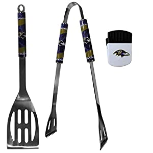 Siskiyou Sports NFL Baltimore Ravens Unisex 2 pc BBQ Set and Chip Clip, Team Colors, One Size
