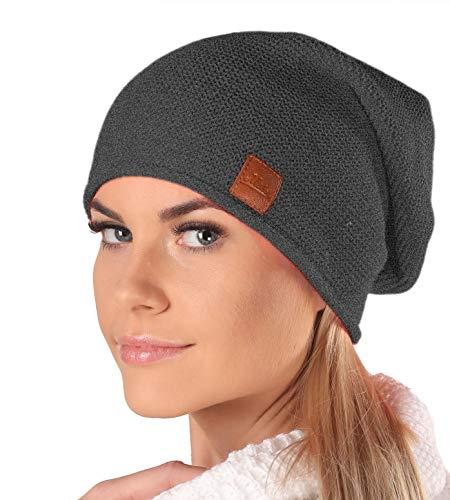 Mikos* Beanie für Damen   Wintermütze für Damen in Dunkelgrau   Wintermütze Damen   Long Slouch Beanie   Mütze mit hohem Tragecomfort  699(Grafite)