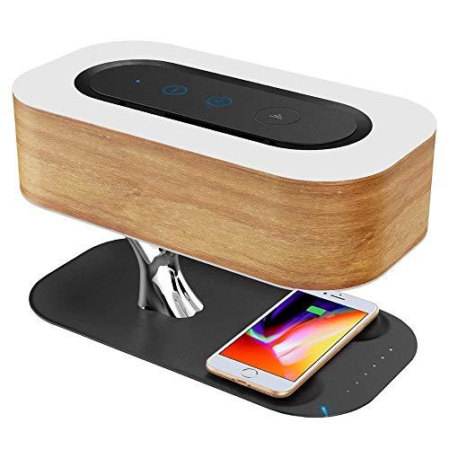 EPSS LED Nachttischlampe mit Bluetooth-Lautsprecher, touch stufenlos dimmbar, Nachttischleuchte mit Schlafmodus + Wireless Charger Designer Tischlampe Deko Schlafzimmer Dämmen Nachtlampe