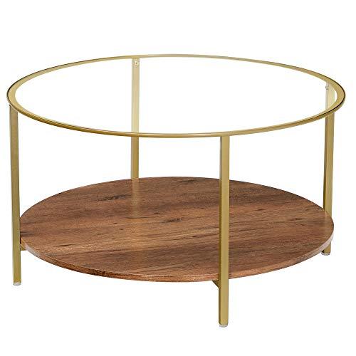 VASAGLE Wohnzimmertisch, Couchtisch, rund, Hartglas, mit 2 Ebenen, für Wohnzimmer, haselnussbraun-golden LCT100A03