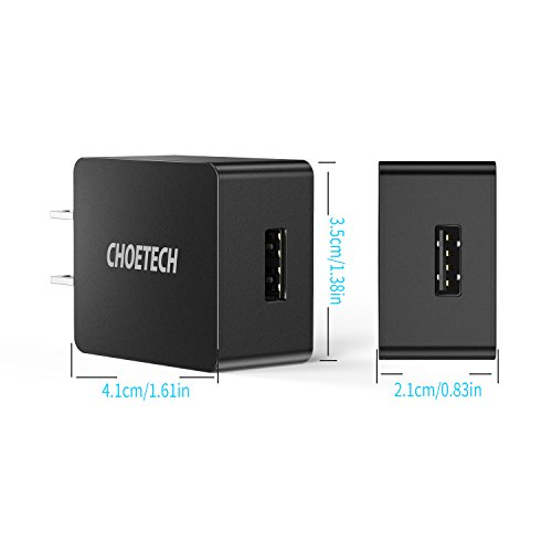 CHOETECH USB Wall Charger, UL Certified 12W 2.4A Ultra-Compact Travel Wall Charger Compatible with iPhone X/XS/XS Max/XR/8/8 Plus, iPad Pro/Air 2/Mini 3/Mini 4, Samsung S4/S5