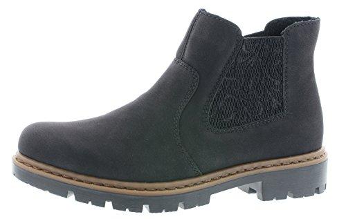Rieker Damen Chelsea Boots 71364,Frauen Stiefel,Halbstiefel,Stiefelette,Bootie,Schlupfstiefel,flach,Blockabsatz 3.5cm,schwarz/schwarz / 00, EU 37