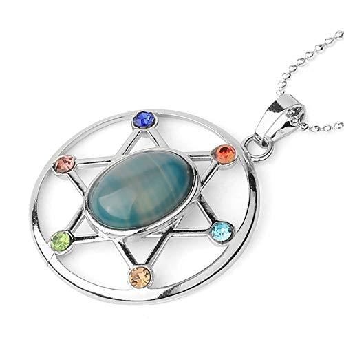 Forma de huevo piedra natural reiki cristal Cz hexagrama collares de amuleto para mujeres hombres joyería