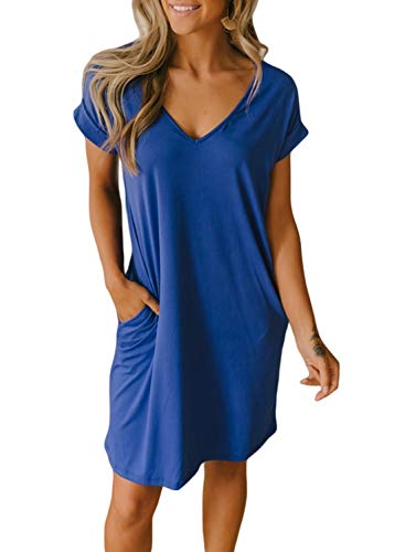 BTFBM Women V-Neck Short Sleeve Solid Color Casual Loose Fit T-Shirt Tunic Dress with Two Side Pockets (Blue, Large)